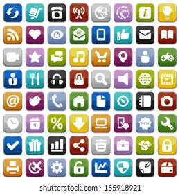 Square colors and icons of trade, business,social media and internet