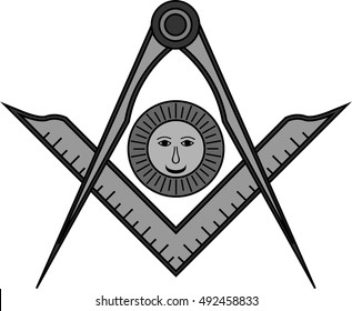 Square, compass and sun, Jewel of Senior Deacon for Blue Lodge Freemasonry