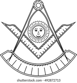Square, compass, sun and protractor, Jewel of Past Master for Blue Lodge Freemasonry