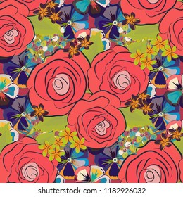 Square composition with abstrct vintage roses. Vector seamless pattern with stylized pink, blue and violet roses.