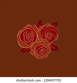Square composition with abstrct vintage roses. Vector seamless pattern with stylized brown, red and pink roses.