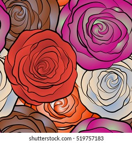 Square composition with abstrct vintage roses. Vector seamless pattern with stylized multicolor roses.