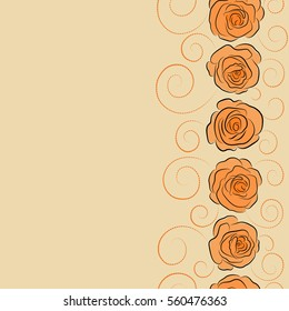 Square composition with vertical abstrct vintage roses. Vector seamless pattern with stylized beige and orange roses and copy space (place for your text).