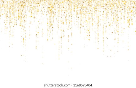 Square confetti gold garlands vector illustration on white. Glowing hanging garlands made of square sparkles gold confetti flying on white background. Anniversary holiday decoration.