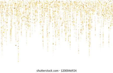 Square confetti gold garlands vector illustration on white. Bright hanging garlands made of square sparkles gold confetti flying on white background. New Year party holiday decoration.