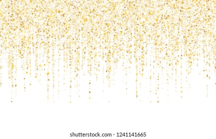 Square confetti gold garlands vector illustration on white. Elegant hanging garlands made of square sparkles gold confetti flying on white background. Anniversary holiday decoration.