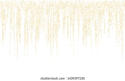 Square confetti gold garlands vector illustration on white. Elegant hanging garlands made of square sparkles gold confetti flying on white background. New Year party holiday decoration.