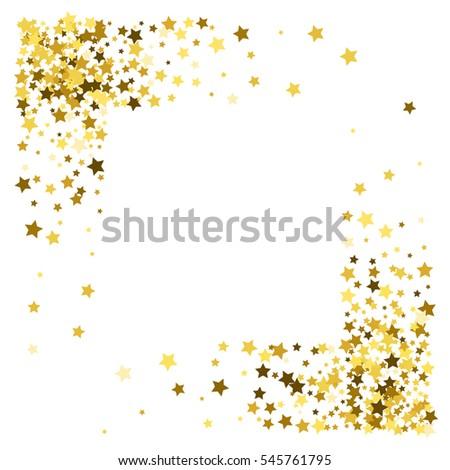 gold frame border vector square corner gold frame or border of random scatter golden stars on white background design corner gold frame border random stock vector royalty free