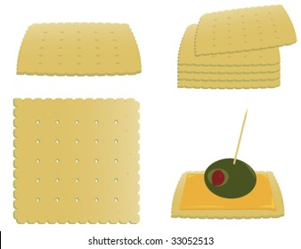 Square crackers and appetizer - vector version