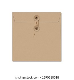 Square craft paper envelope with string tie. Photo-realistic stationery mockup template. Vector 3d illustration.