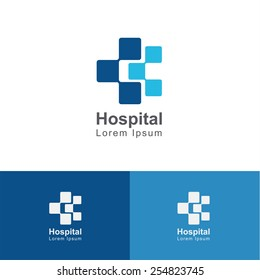 Square cross blue connect sign medical and hospital, treatment vector design template
