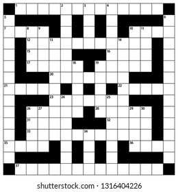 Square crossword puzzle vector  illustration. American-style crossword puzzle. 15 x 15 Blank crossword grid