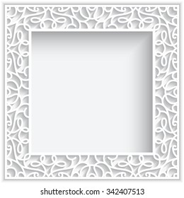 Square cutout paper lace frame on white background, vector eps10