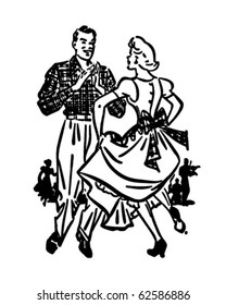 Square Dancers 2 - Retro Clipart Illustration