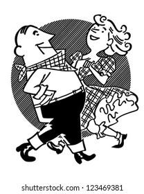 Square Dancing Couple - Retro Clipart Illustration