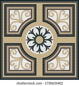 Square decor with geometric and floral motifs. The classic Roman mosaic. Ideal for floor and wall decoration. Each element is isolated and edited. Vector 10 EPS illustration.