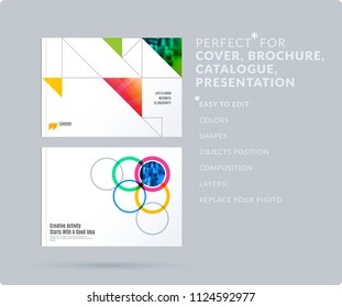 Powerpoint template stock vectors images vector art shutterstock square design presentation template with colourful triangles and shadows abstract vector set of modern horizontal toneelgroepblik Image collections