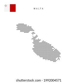 Square dots pattern map of Malta. Maltese dotted pixel map with national flag isolated on white background. Vector illustration.