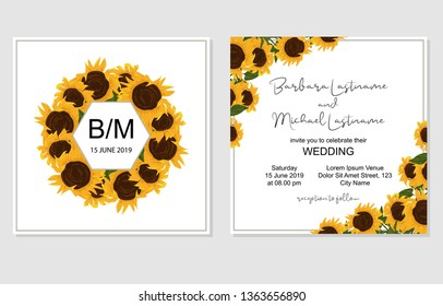 Square double sided wedding invitation card with sunflowers and silver frame. Floral marriage invitation template with sun flowers and leaves. White background. Flat watercolor style.