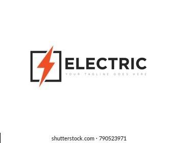 square electric logo, icon, symbol, design template