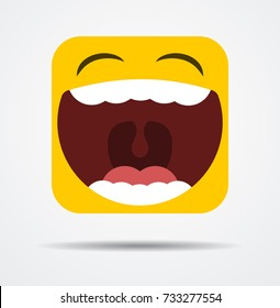 Square emoicon laughing out loud in a flat design
