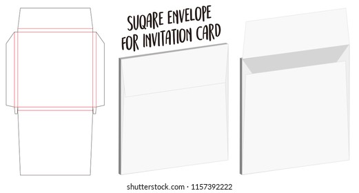 square envelope for invitation card dieline mockup