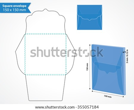 square envelope template die cut swirly stock vector royalty free