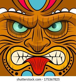 Square Faced Tiki Mask - Vector illustration