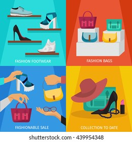 Square fashion accessories icon set with descriptions of fashion footwear fashion bags fashionable sale and collection to date vector illustration