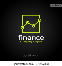 square finance logo. modern eye catching logo with green color