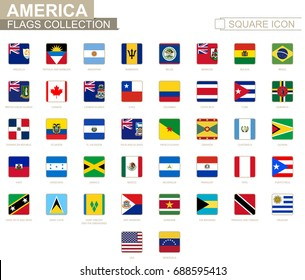 Square flags of America. From Anguilla to Venezuela. Vector Illustration.