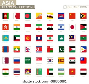 Square flags of Asia. From Afghanistan to Yemen. Vector Illustration.