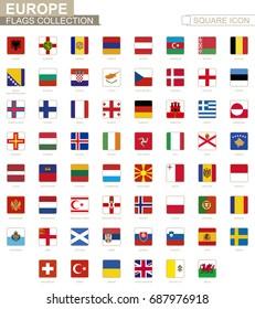 Square flags of Europe. From Albania to Wales. Vector Illustration.