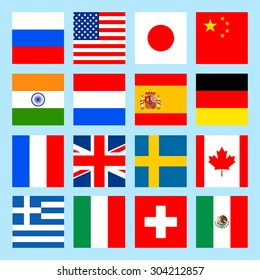 square flags icons in flat style.  Vector illustration