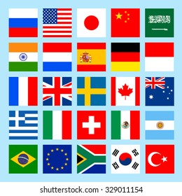 square flags icons in flat style.  countries. The Group of Twenty. Seven. Vector illustration.