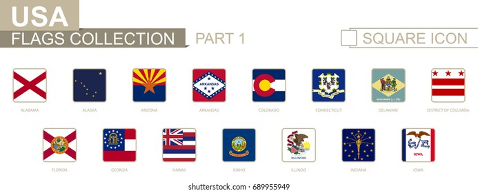 Square flags of US States. Part I from Alabama to Iowa. Vector Illustration.