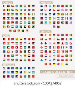 Square flags of the World, collection sorted by continents and alphabetical. Vector Illustration.