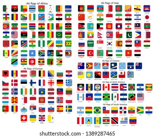 Square flags of the World, collection sorted by continents and alphabetical. Vector Illustration