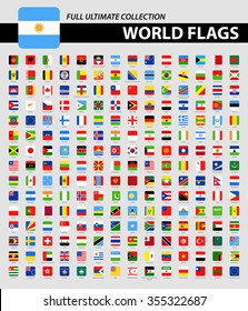 Square Flags of the World - Full Ultimate Collection Vector Collection of World Flag Icons