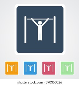 Square flat buttons icon of Athlete. Eps-10.