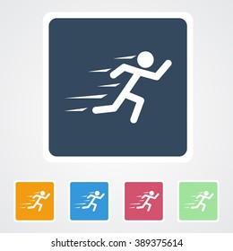 Square flat buttons icon of Runner. Eps-10.