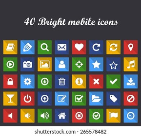 Square flat mobile or web buttons with icons. Set of 40 shadow elements of interface