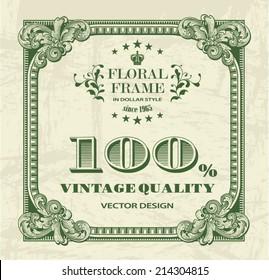 Square floral frame in dollar style for retro label design