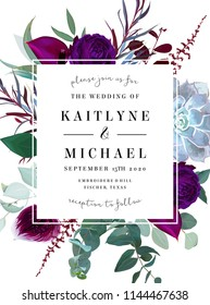 Square floral label frame arranged from leaves and flowers. Plum orchid, purple anthurium, dark violet rose, succulent echeveria, eucalyptus vector design set. Autumn card. All elements are isolated
