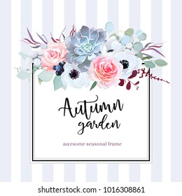 Square floral vector design card. Anemone, echeveria succulent, rose, brunia, black berry, eucalyptus, agonis.Wedding card.Simple backdrop with vertical stripes. All elements are isolated and editable