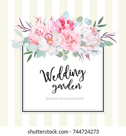 Square floral vector design card. Orchid, peony, rose, camellia, hydrangea flowers, eucalyptus, agonis. Wedding card. Simple backdrop with vertical stripes. All elements are isolated and editable.