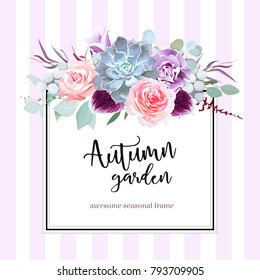 Square floral vector design card. Purple carnation, echeveria succulent, rose, brunia, eucalyptus, bell flower, agonis.Wedding card.Simple backdrop with stripes. All elements are isolated and editable