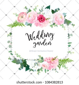 Square floral vector design frame. Pink ranunculus, red rose, white hydrangea flowers, eucalyptus, forest fern. Wedding card.Simple backdrop with princess crowns.All elements are isolated and editable