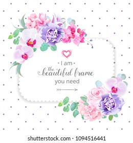 Square floral vector design frame. Purple orchid, pink rose, hydrangea, campanula flowers, carnation, green eucalyptus. Wedding card. Simple backdrop with polka dots. All elements are isolated.