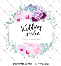 Square floral vector design frame. Purple orchid, pink rose, hydrangea, campanula flowers,carnation, succulent,eucalyptus. Simple backdrop with lines and crowns. All elements are isolated and editable
